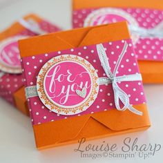 Cute little Hostess Gift - Uses Stampin Up Envelope Punch Board and Hello There Stamp Set.  By Louise Sharp