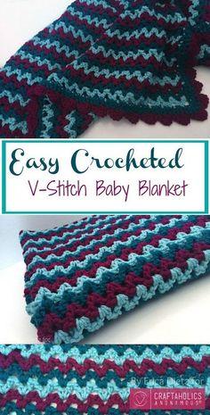 Crochet V Stitch Baby Blanket.