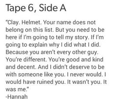 Welcome to your tape Clay.  Thirteen Reasons Why.  Series on Netflix.  Was a book made into a series.