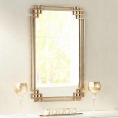 "Devoll Classical Gold 22"" x 36 3/4"" Rectangle Wall Mirror"