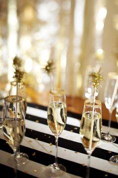 gold sugar-rimmed champagne glasses
