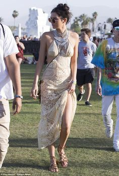 Kendall Jenner dons maxi-dress and raver-bun hairstyle to party at Coachella | Daily Mail Online
