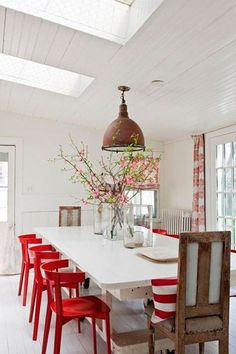 Red dining room Painted Accent Furniture #red #dining_room #bead_board.....  LOVE THE RED CHAIRS....AND LIGHT FIXTURE...WANT BIG TIME!!!!!!!!!!