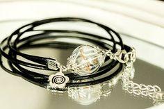Cuir véritable de la volonté réelle de pissenlit Bracelet, boule en verre, bijoux Bracelet de Globe en verre, cadeau d