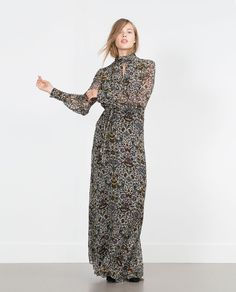 PRINTED LONG SLEEVE MAXI DRESS-View all-Dresses-WOMAN | ZARA United States