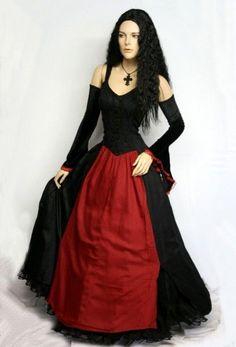 Mittelalter Gothic Mieder Kleid Melinda schwarz rot Schnürung 38 40 L XL Neu