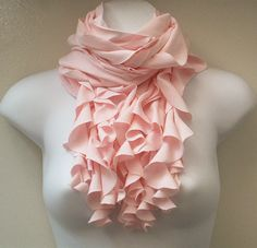 Long Ruffle Scarf, Light Pink Jersey Cowl Scarf