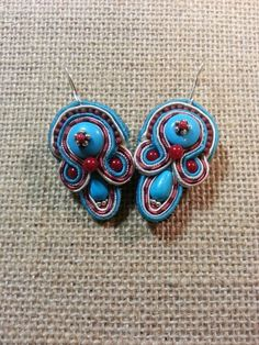 Soutache earrings with turquoise and coral by Zen Creations Jewelry