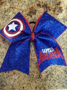 Cheer Bow- Captain America on Etsy, $15.00