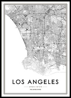 Los Angeles Poster in the group Posters & Prints / Maps & cities at Desenio AB Map Of New York, New York Poster, Wallpaper Ciudades, Map Los Angeles, Carte New York, Wall Prints, Poster Prints, Map Posters, Buy Prints