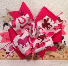 Pink Western Horse Cowgirl Boutique Style Hair Bow Very Cute Sparkles