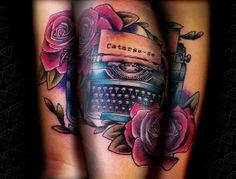 typewriter tattoo by Elisa Nobre