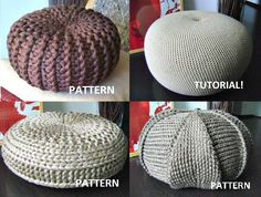 4 Knitted & Crochet Pouf Floor cushion Patterns by isWoolish, €7.50