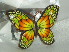 Brooch Pendant Combination - Orange  Lime Butterfly | Kimis-Jewelry-From-The-Heart - Jewelry on ArtFire