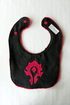 World of Warcraft Horde Baby Bib, Gaming Baby Bib, Nerdy Baby Gift, Baby Shower Gift Ideas
