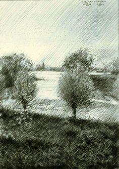 Gezicht op Haaften - 10-08-14, grafiet op papier (for sale / te koop) (14,8 x 21…