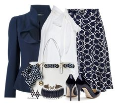 """""""Classic Navy n' White"""" by stylesbyjoey ❤ liked on Polyvore featuring Alexander McQueen, Alice + Olivia, MICHAEL Michael Kors, Rupert Sanderson, Vince Camuto and Accessorize"""