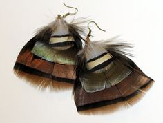 Turkey Plume-Feather Earrings by GirlCandyDesigns on Etsy