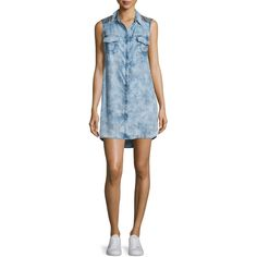 True Religion Georgia Sleeveless Chambray Shirtdress ($180) ❤ liked on Polyvore featuring dresses, blue shirt dress, shirt dress, long shirt dress, blue shift dress and sleeveless dress