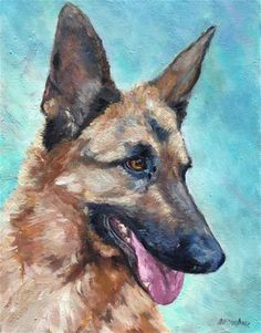 "Daily Paintworks - ""Lassie the German Shepherd"" - Original Fine Art for Sale - © Allison Doke"