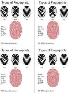 Simple illustration helps your detectives learn to read finger prints. Print four cards per page. Simple illustration helps your detectives learn to read finger prints. Print four cards per page. Girl Scout Badges, Girl Scout Troop, Boy Scouts, Girl Scout Swap, Girl Scout Leader, Brownie Girl Scouts, Escape Room, Photo Booth Anniversaire, Detective Party