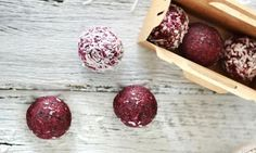 My 2-year-old daughter had so much fun making these and was amused by the sight of her hands turning red as she rolled them into balls. This is a really clever way to disguise beetroot, a rich source of vitamin C, fibre and cancer-fighting phytonutrients.