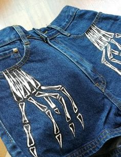 Hand painted (I'm punny) high wasted denim Halloween bones jean shorts. FUN! From Etsy.