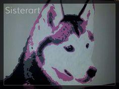 Husky hond Zwart/wit/roze Popart-SisterArt