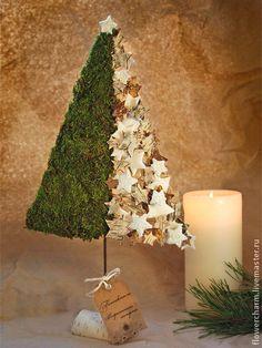 Елочка из бересты и мха - елка новогодняя,елка ручной работы,елочка,натуральные материалы