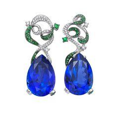 Tanzanite, tsavorite, & diamond earrings