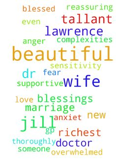 Please pray for the richest blessings on my Beautiful - Please pray for the richest blessings on my Beautiful wife Jill and I Lawrence and our beautiful marriage in all aspects of our life and our beautiful marriage. Please pray My Beautiful wife Jill has a thoroughly blessed conversation with Dr Tallant today and Dr Tallant will be so supportive and totally reassuring. Please pray God will reveal the new Doctor GP for my Beautiful wife Jill and I Lawrence, someone who is even better than Dr…