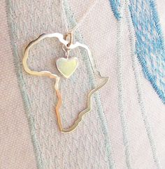 Africa necklace Africa map pendant heart in Africa by LolaAndCash, $102.00