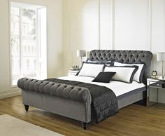Bedroom, : Exciting Bedroom Decoration Using Grey Suede Tufted Headboard Including Grey Foam Mattress Bed Frame And Light Oak Wood Bedroom Flooring