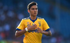 Download wallpapers Paulo Dybala, portrait, Juventus, Italy, Argentine footballer, yellow outfit Juventus, new logo Juventus, Serie A