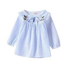 Autumn Baby Girls T-shirt Embroidery Floral Tops Blouse Long Sleeve Shirts Shirt Embroidery, Long Sleeve Tee Shirts, Long Blouse, Look Cool, Daily Wear, Floral Tops, Ruffle Blouse, Baby Girls, Sleeves
