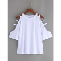 White Cutout Strappy Sleeve T-shirt ($12) ❤ liked on Polyvore featuring tops, t-shirts, white, white short sleeve t shirt, short sleeve tops, strappy top, cut-out tops and short sleeve t shirts