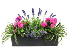 Artificial Mixed Flower Window Box Trough Container with Yucca, Geraniums, Starflower and Lavender - Outdoor and Indoor Use - Colourful and Realistic