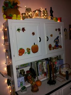 my kitchen Hoosier cabinet in the fall! I think a Hoosier would make a good yarn/knitting supplies cabinet! Autumn Decorations, Fall Decor, Holiday Decor, Hoosier Cabinet, Knitting Supplies, Knitting Yarn, Cabinets, Storage, Kitchen
