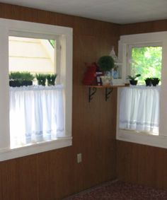 How to fill in the grooves of fake wood paneling -- makes it look like a normal wall. Doesn't work on solid wood paneling, but maybe for the stuff in the kitchen?