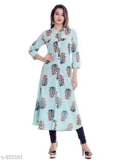 Kurtis & Kurtas Women's Printed Cotton Kurti Fabric: Cotton  Sleeves: 3/4 Sleeves Are Included Size: M - 38 in , L - 40 in, XL - 42 in, XXL - 44 in Length: Up To 46 in Type: Stitched Description: It Has 1 Piece Women's Kurti Work: Printed Sizes Available: M, L, XL, XXL *Proof of Safe Delivery! Click to know on Safety Standards of Delivery Partners- https://ltl.sh/y_nZrAV3  Catalog Rating: ★4 (216)  Catalog Name: Kaira Fancy Cotton Printed Kurtis Vol 1 CatalogID_98581 C74-SC1001 Code: 124-851391-
