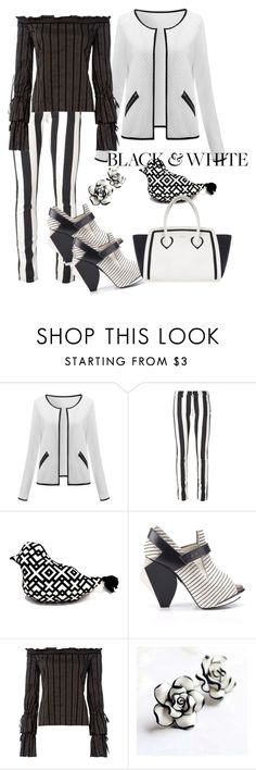 """""""Modern Stripe🐠"""" by parnett ❤ liked on Polyvore featuring Off-White, Abcense, Exclusive for Intermix, Furla and modern"""