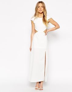 Image 2 ofTiger Mist Petite Maxi Dress With Cut Outs and Thigh Split
