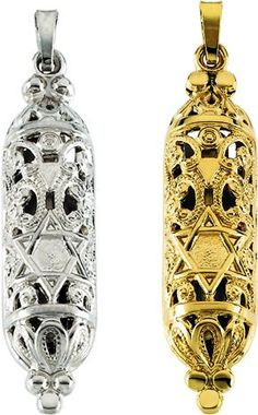 Amazon.com: 14K Yellow Gold Hollow Mezuzah Pendant 36mm x 9mm (Yellow Gold): Jewelry
