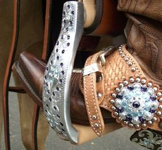 Cowgirl Bling Spurs and Stirrups! Crystal berry edge concho on a full basketweave spur strap with nickle spots. Jozee Girl Crystal Stirrups