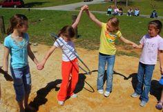 PE hula hoop game Teamwork  Physical work Take turns Stuck  Fun, but hard work