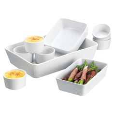9-piece ceramic bakeware set in white.    Product: 1 Large rectangular baker1 Small rectangular baker1 Square baker