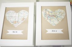 So cute. Definitely doing this his/her maps DIY wall art :)