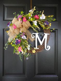 Summer wreaths Initial wreath Pansy wreath by ChickadeeLore