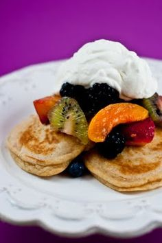Desserts for Breakfast: Whole wheat pancakes with almond fruit and mascarpone cream
