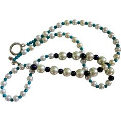 """Reduced Artisan Original necklace, 30"""" long, Pearls, Turquoise and Black…"""
